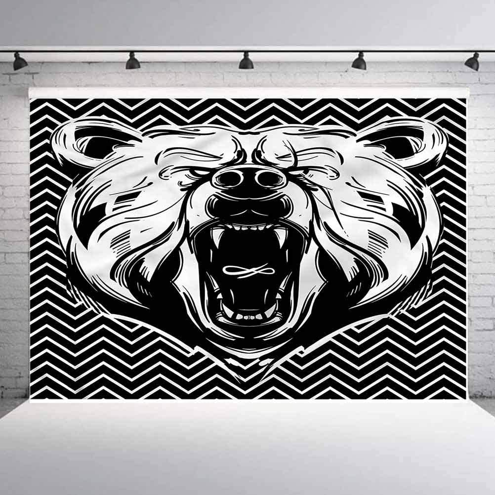 8x8FT Vinyl Photo Backdrops,Bear,Scary Roar on Zigzag Lines Background for Selfie Birthday Party Pictures Photo Booth Shoot