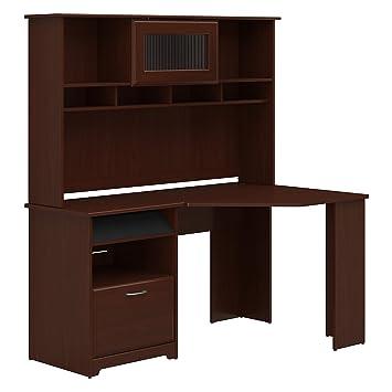 amazon com bush furniture cabot corner desk with hutch in harvest rh amazon com corner desktop hutch corner desk hutch home office