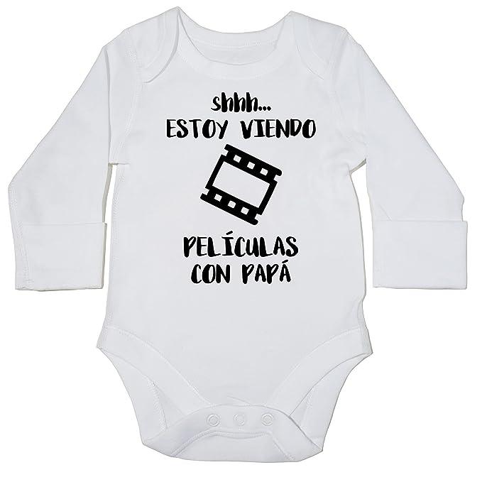 ESTOY VIENDO PELÍCULAS CON PAPÁ body manga larga bodys pijama niños niñas unisex: Amazon.es: Ropa y accesorios