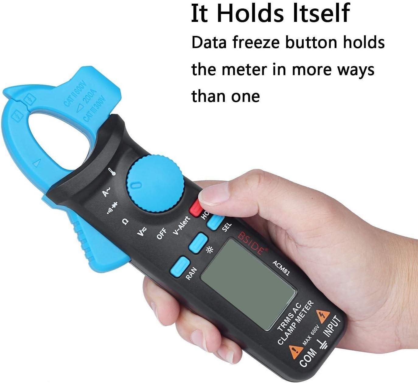 DXX-HR Digital Clamp Meter 1mA AC Current Pocket True RMS Auto-Ranging Temperature Ohm Tester ACM81 (Color : Blue-acm81) Black-acm81