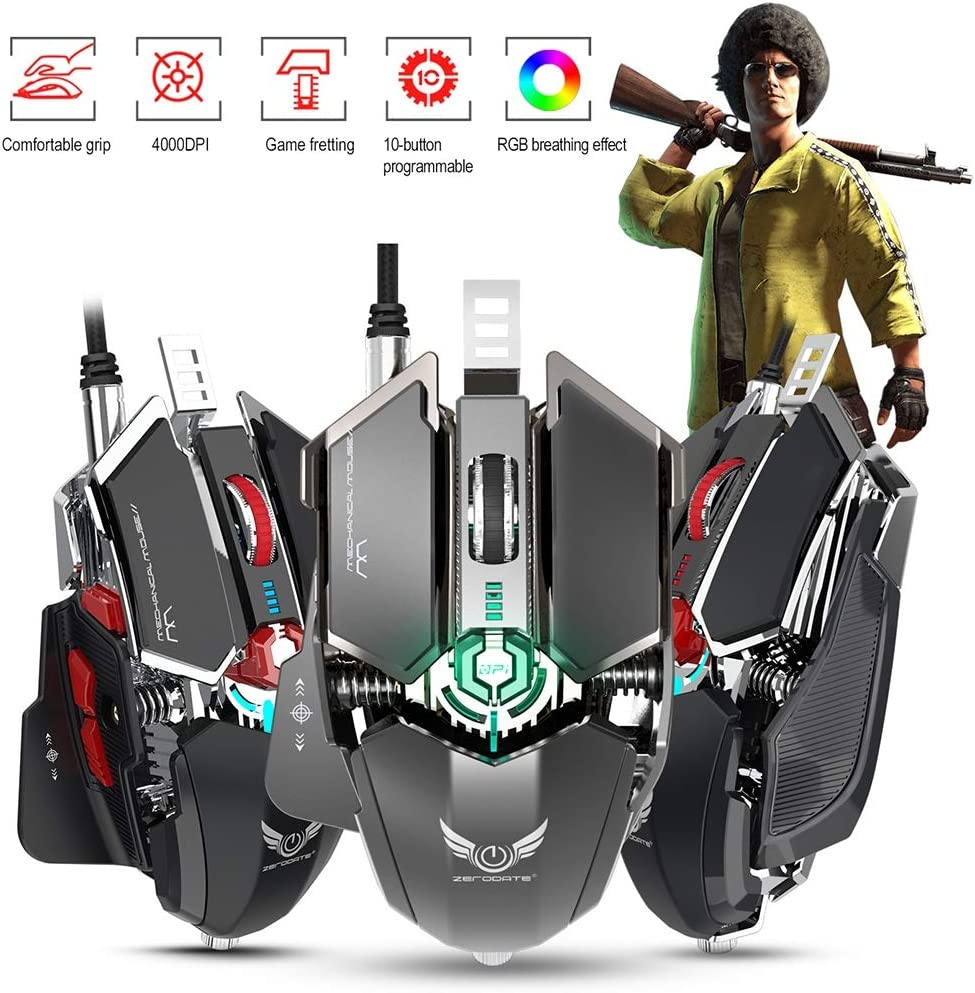 for E-Sports Games and Office,Black Cool Lighting Design Mechanical Gaming Mouse // 10 Button Programmable Wired Mouse Gaming Mouse