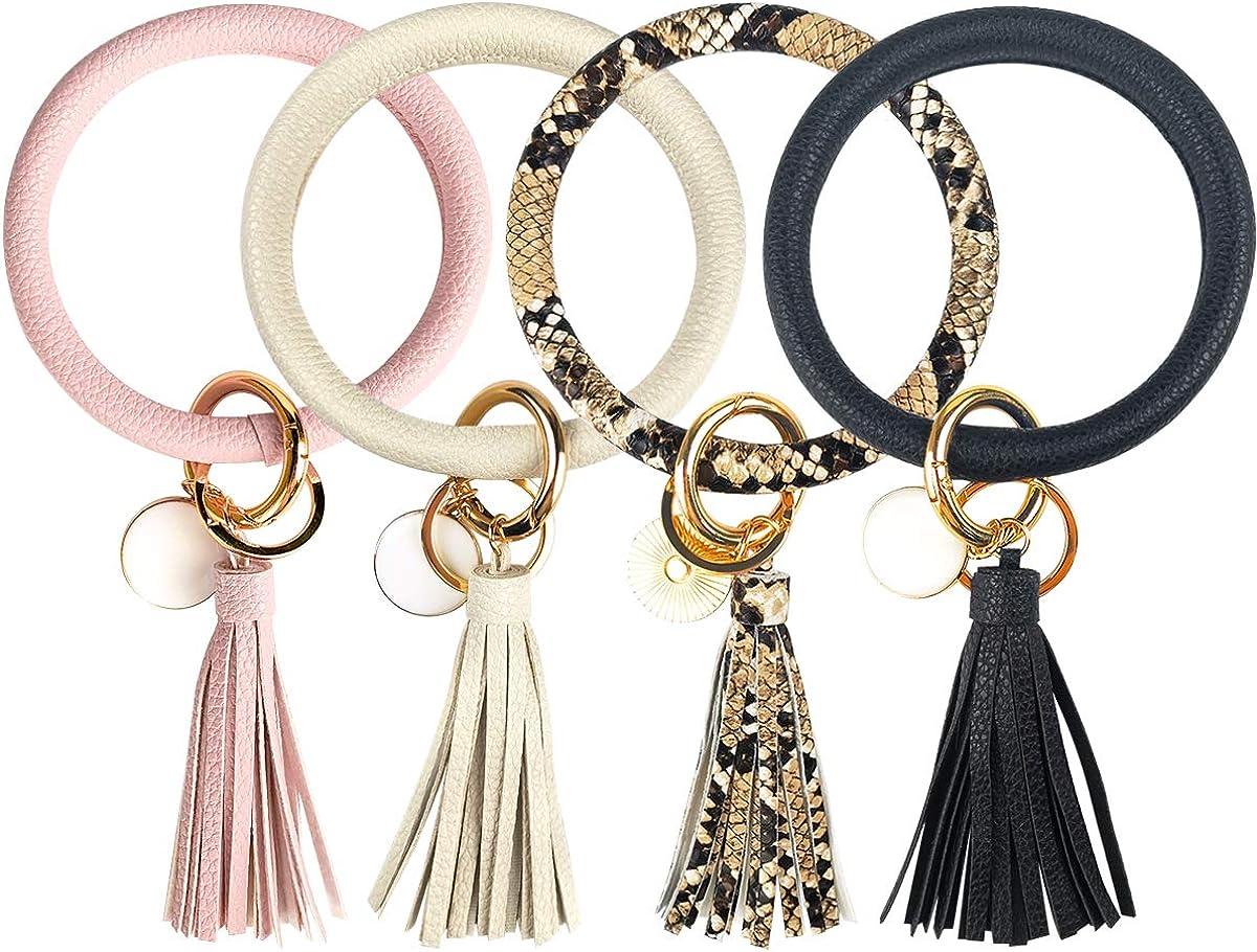 4PCS Leather Wristlet Keychain Bracelet Bangle Round Key Ring Large Circle Tassel Key Chain Bracelet Holder for Women Girls