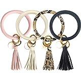 Amazon.com: 4 piezas de pulsera de cuero llavero brazalete ...