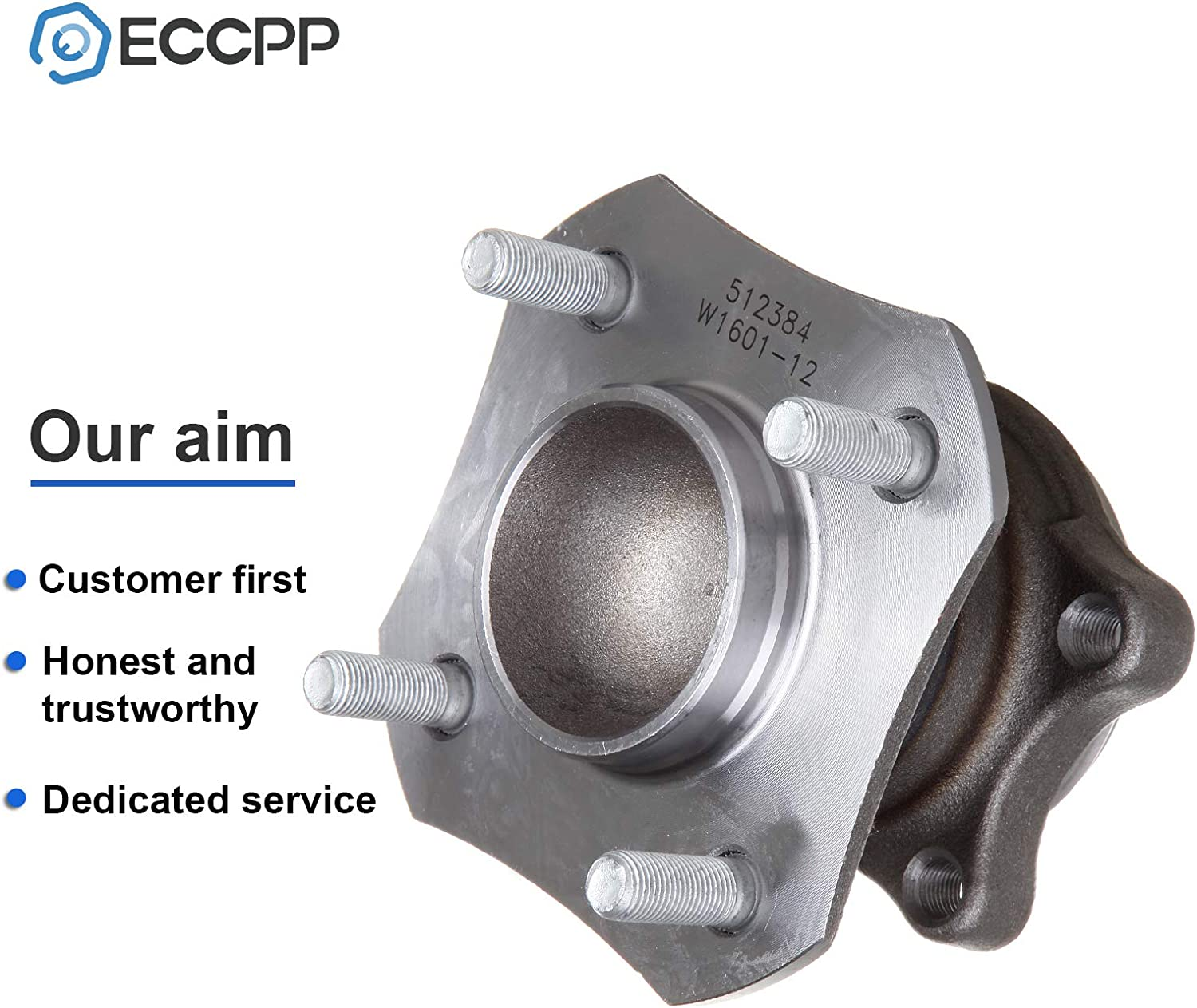 ECCPP Rear Wheel Hub Bearing Assembly 4 Lugs w//ABS for 2007-2012 Nissan Compatible with 512384