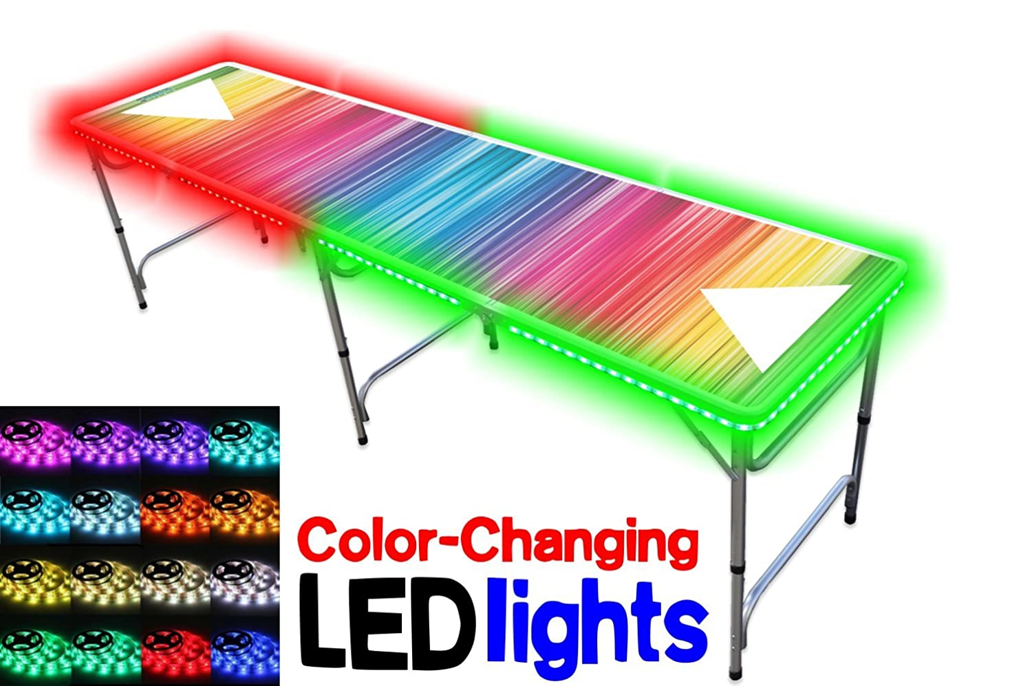 8-Foot Professional Beer Pong Table w/OPTIONAL Cup Holes & LED Glow Lights - Bubbles and Color Spectrum Editions PPT-082220181