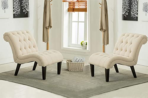 Haobo Armless Accent Chairs with Button Tufted for Living Room or Reception Room Set of 2 Livingroom Chair, Ivory