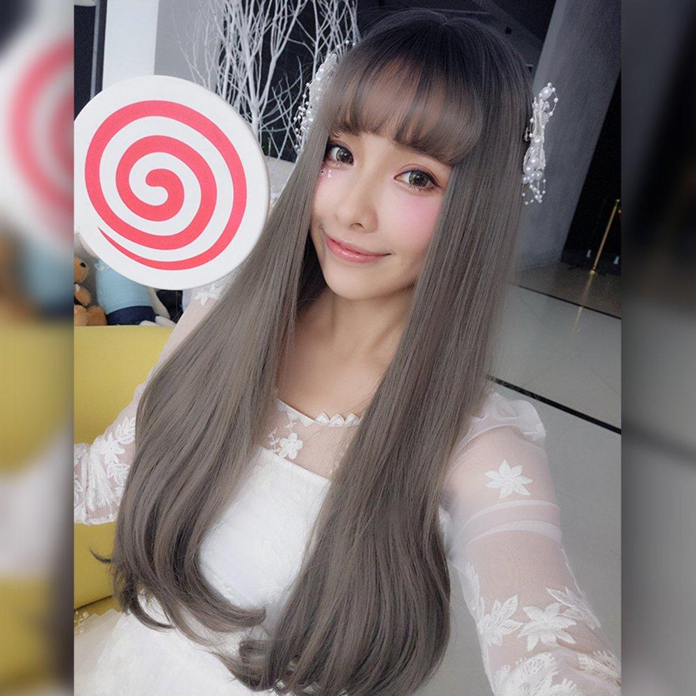 Botón gradiente peluca de señora/ cabello largo/ Versión coreana del pelo natural-A