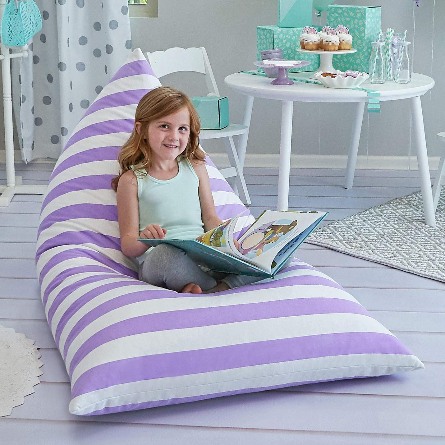 Butterfly Craze Large Stuff Animal Storage Bean Bag Chair Cover for Kids Teens (Purple/White Striped) by Butterfly Craze