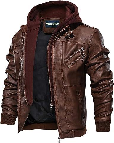 Veste Hommes Leather Jacket Blousons Men À Pu Moto Capuche Avec Hooded Cuir Amovible Aviateur WE2DI9H