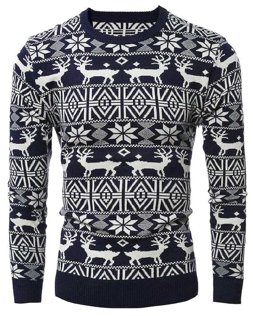 Macondoo Men Crew-Neck Winter Long Sleeve Knitwear Pullover Christmas Sweater