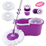 Mecor Floor Mop Microfiber Spin with Bucket/2 Head 360° Easy Rotating (Purple)