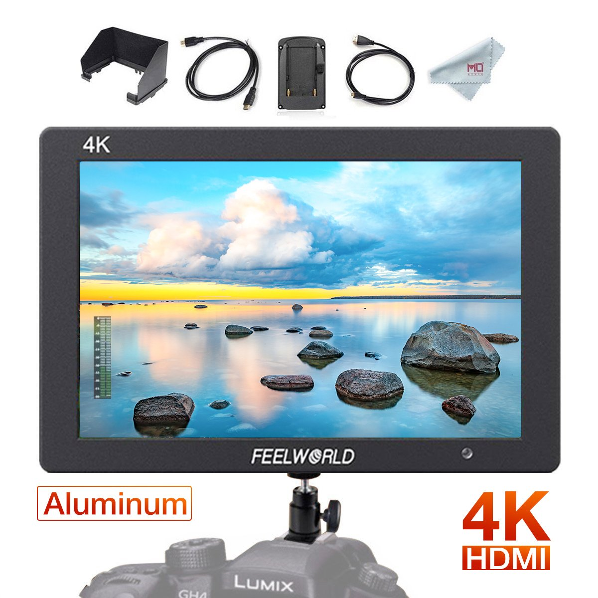 FEELWORLD T7, 7 inch Camera Field Monitor Full HD 1920x1200, 4K HDMI Input/Output, Battery& Battery Charger Included with Micro&Mini Cable T07
