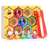 WOOD CITY Toddler Fine Motor Skills Toys,Bee to Hive Matching Game, Wooden Color Sorting Toy for Toddler 2 3 Years Old, Monte