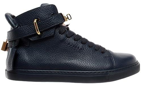 BUSCEMI Scarpe Uomo Sneakers Blu Oceano Deep Ocean Gold 100MM Handmade  Italy New 7b429ccb7b0