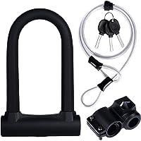 Yizhet Candado en U Bicicleta, Resistente, de Alta Seguridad U Lock Candado Bicicleta con Cable Flexible de Acero de 1,2…