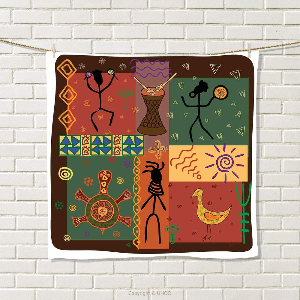 smallbeefly Primitive Hand Towel Funky Tribal Pattern Depicting African Style Dance Moves Instruments Spiritual Quick-Dry Towels Multicolor Size: W 20'' x L 20''