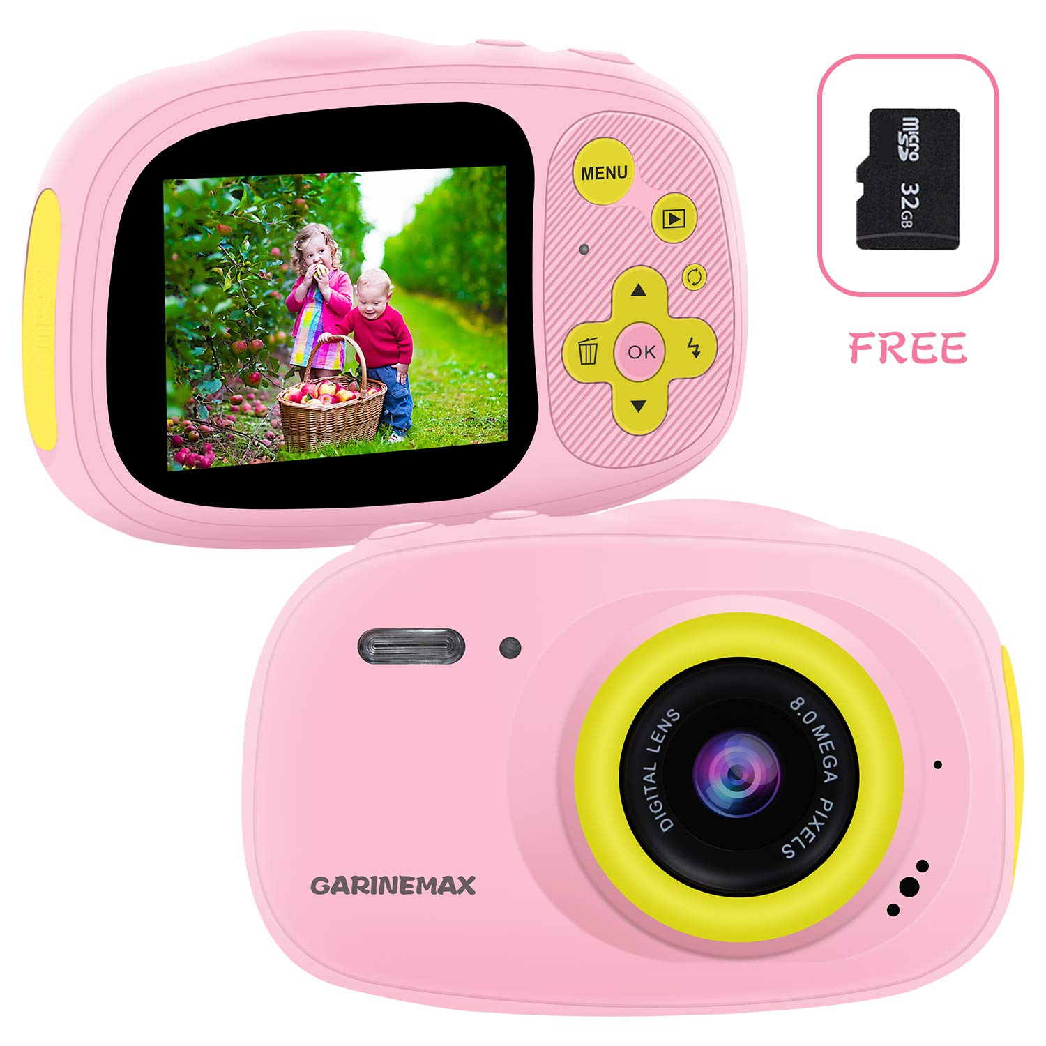 Kids Camera, IP68 Waterproof Camera for Kids, HD 1080P Underwater Camera for Children with 32GB SD Card / MP3 / MP4 / Games Function, Extra Stickers, Bag and Lanyard Digital Camera for Girls Boys Gift by GARINEMAX
