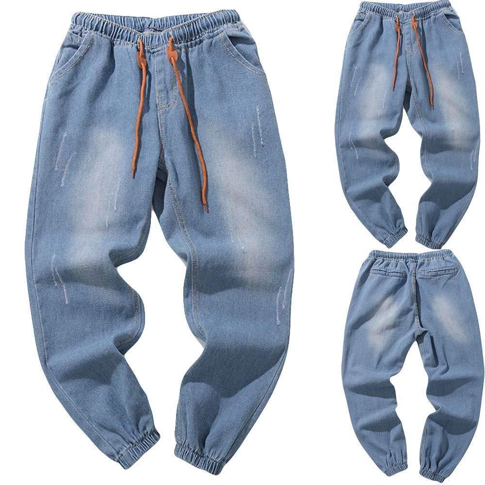 Manadlian-Homme Jeans Grandes Tailles Pantalon Denim Coton Jeans Sweatpants Hip Hop Décontracté Long Pantalons Casual Trousers Automne Hiver Pants