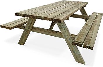 Esprit Industriel Table de Jardin en Bois 180cm avec 2 bancs ...
