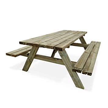 Table de Pique-Nique 180 cm avec bancs rabattables en Bois, 6 Places -  PANCHINA - Table de Jardin Robuste en pin sylvestre FSC