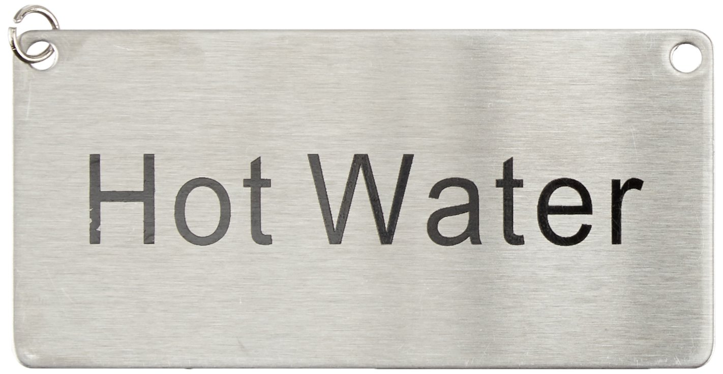 """Stainless Steel Chain Sign """"Hot Water"""" Winco SGN-204"""
