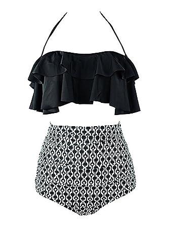 305516fc5d13f Women's Two Piece Push up Ruffle High Waisted Bikini Swimsuit Set Bathing  Suit (Black,