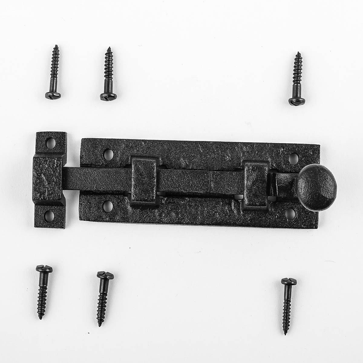 Black Wrought Iron Cabinet Or Door Slide Bolt 4'' W | Renovator's Supply