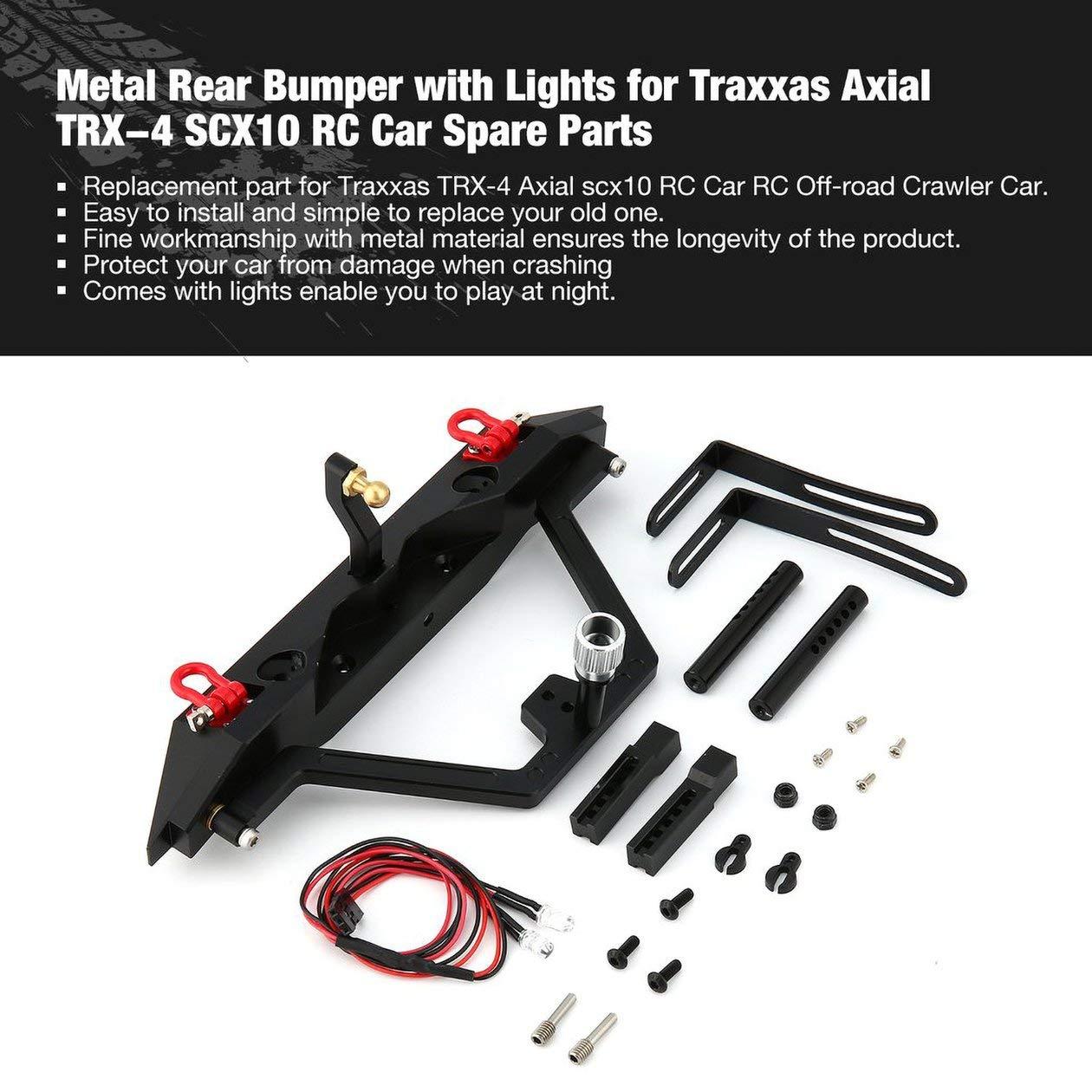 Parachoques trasero met/álico de acero con luces LED para Traxxas Axial SCX10 RC Off-road Crawler Repuestos de accesorios para autom/óviles Componente Negro