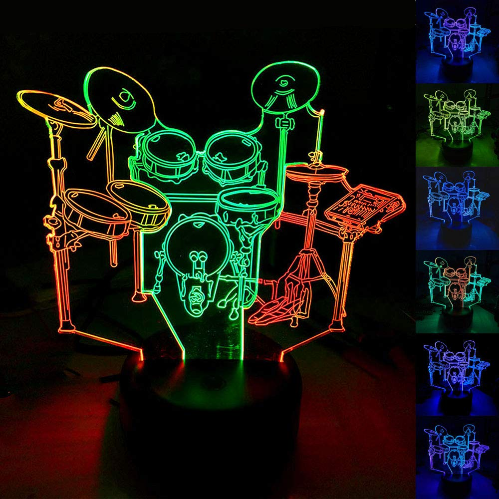 SZLTZK Christmas Gift Mixed Dual Color 3D LED Drum Kits Night Light 7 Color Touch Switch with Battery Compartment USB Cable Table Desk Baby Nursery Lamp Home Decor Birthday Present for Kids Boy Girl