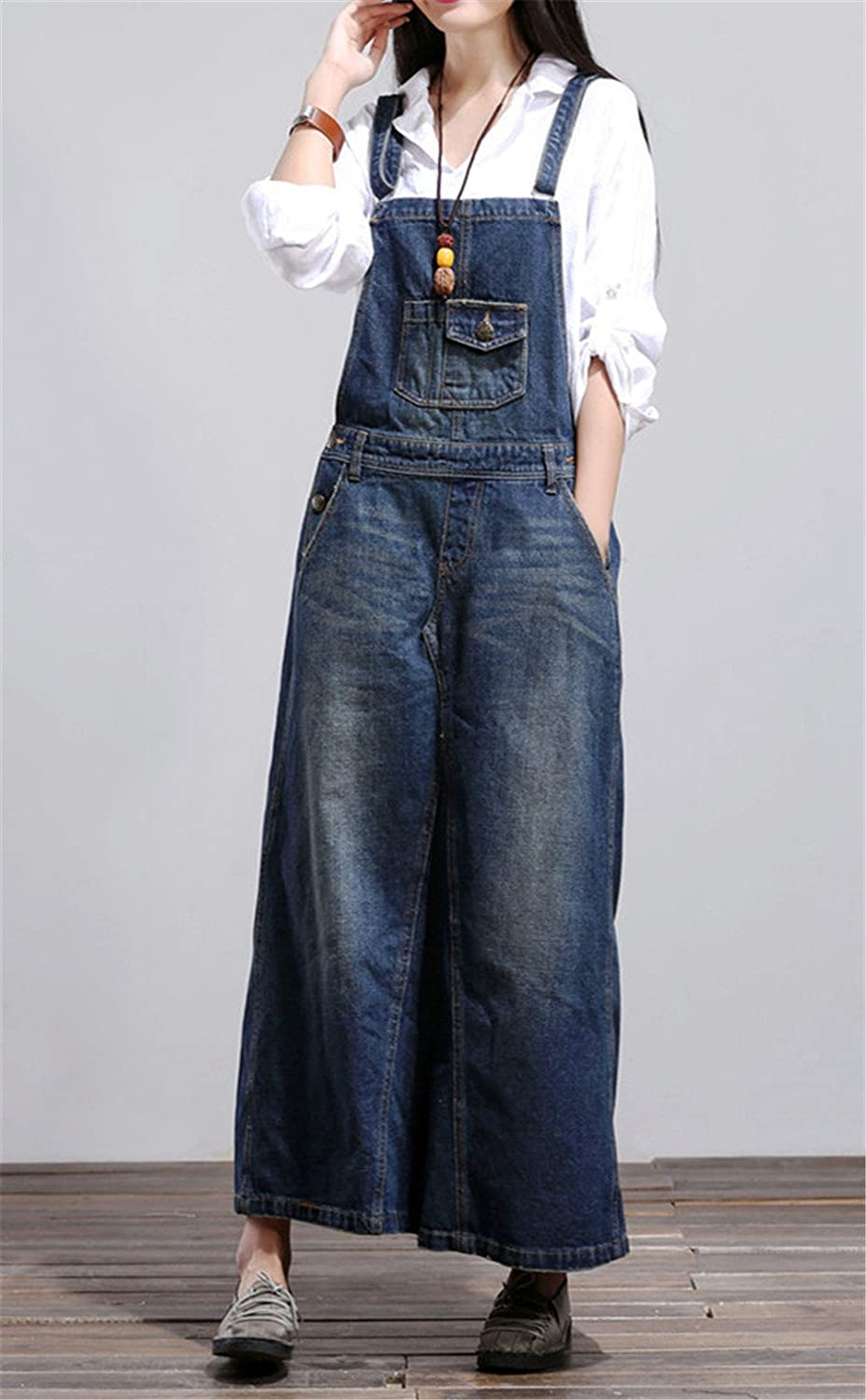 Crazy Womens Casual Jumpsuits Rompers Overall Maxi Denim Dress Blue