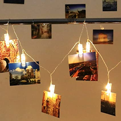 Amazon.com: Holidayli 20 LED Photo Hanging Clips String Lights for ...