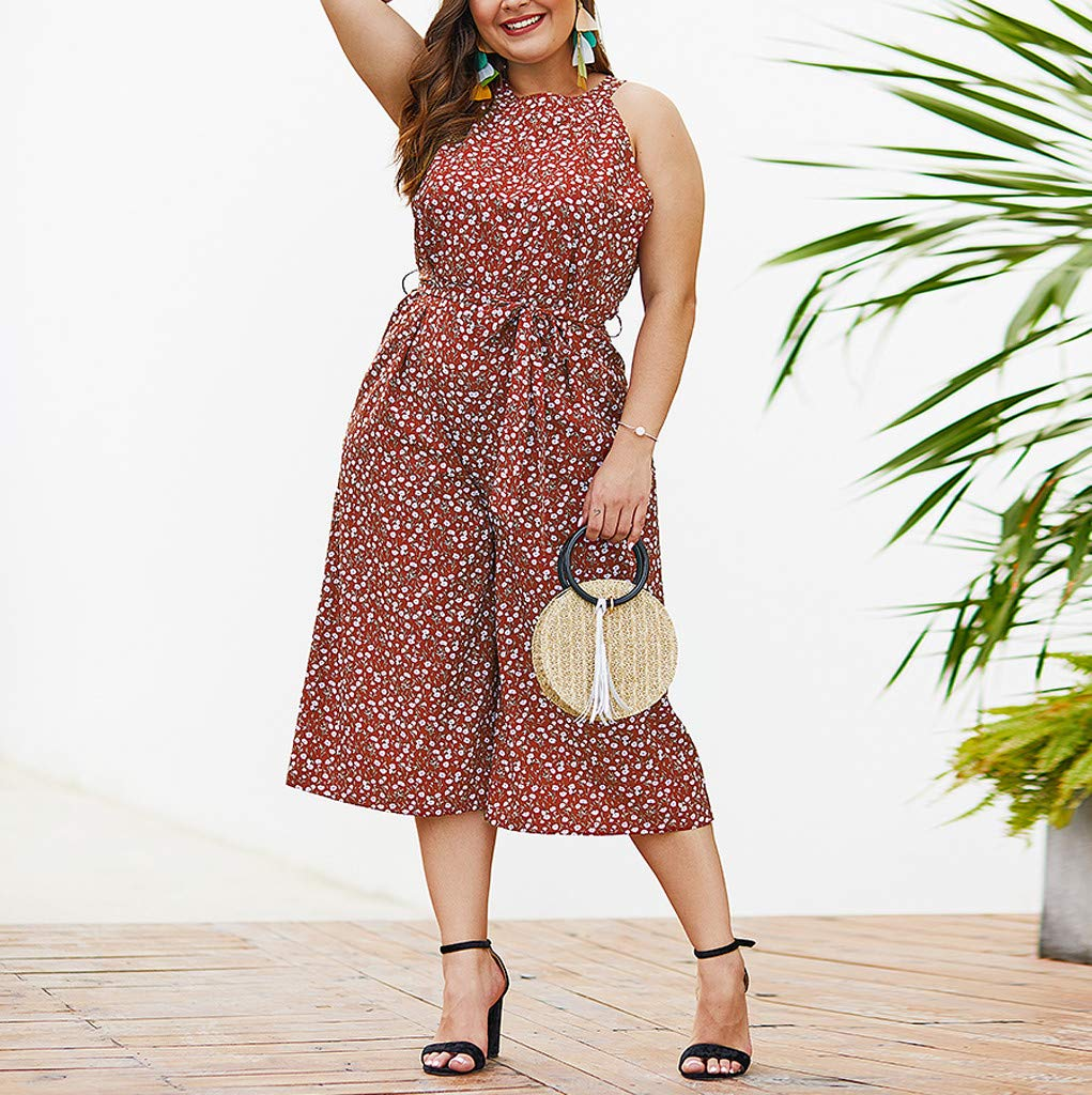 Ymibull Women Boho Floral Print Bow Rompers Casual Sleeveless Wide Leg Jumpsuit (Wine, XL) by Ymibull (Image #2)