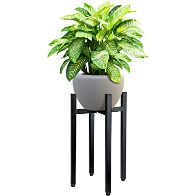 Planteko Mid Century Metal Plant Stand V2 - New Improved Adjustable Indoor Plant Stand - Metal Plant Holder, Stylish and No Wobble - Plant Display Rack Fits Pots Sizes 8-12 Inches (Pot Not Included) : Garden & Outdoor