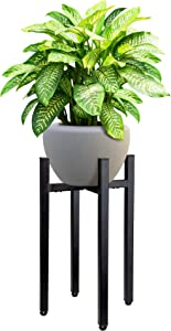 Planteko Mid Century Metal Plant Stand V2 - New Improved Adjustable Indoor Plant Stand - Metal Plant Holder, Stylish and No Wobble - Plant Display Rack Fits Pots Sizes 8-12 Inches (Pot Not Included)