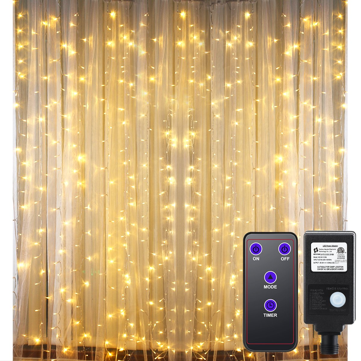 GDEALER 300 Led Window Curtain Lights with Timer,Remote Control String Lights Fairy Lights for Wedding Party Bedroom,6.6x9.8ft Hanging Lights Twinkle Lights Christmas Lights Wall Decor Warm White