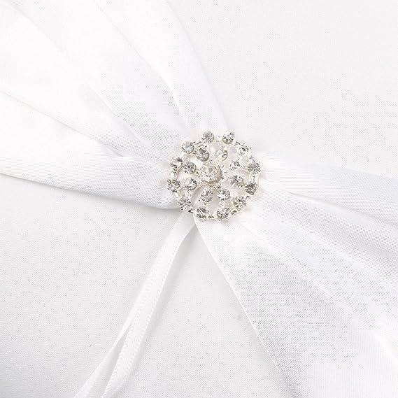 Amazon.com: eDealMax Partido de Novia de Raso nudo de la Mariposa de la decoración cesta de la Flor almohadilla del anillo 2 en 1 Blanco: Home & Kitchen