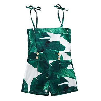 bf4a242d0798 Baby Girl Green Leaves Halter One Piece Jumpsuit Sleeveless Bodysuit  Swimsuit (6-12M)