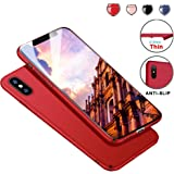 Protective iPhone X Case Slim Design with Shockproof and Antiskid, Meidom Matte Cover Case for iPhone X Only-Red