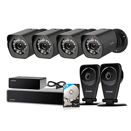 Zmodo 8CH sPoE Security Camera System with Repeater, 4 Outdoor Weatherproof  and 2 Indoor Two-Way Audio Cameras, 1080P NVR Recorder 1TB HDD and Cloud