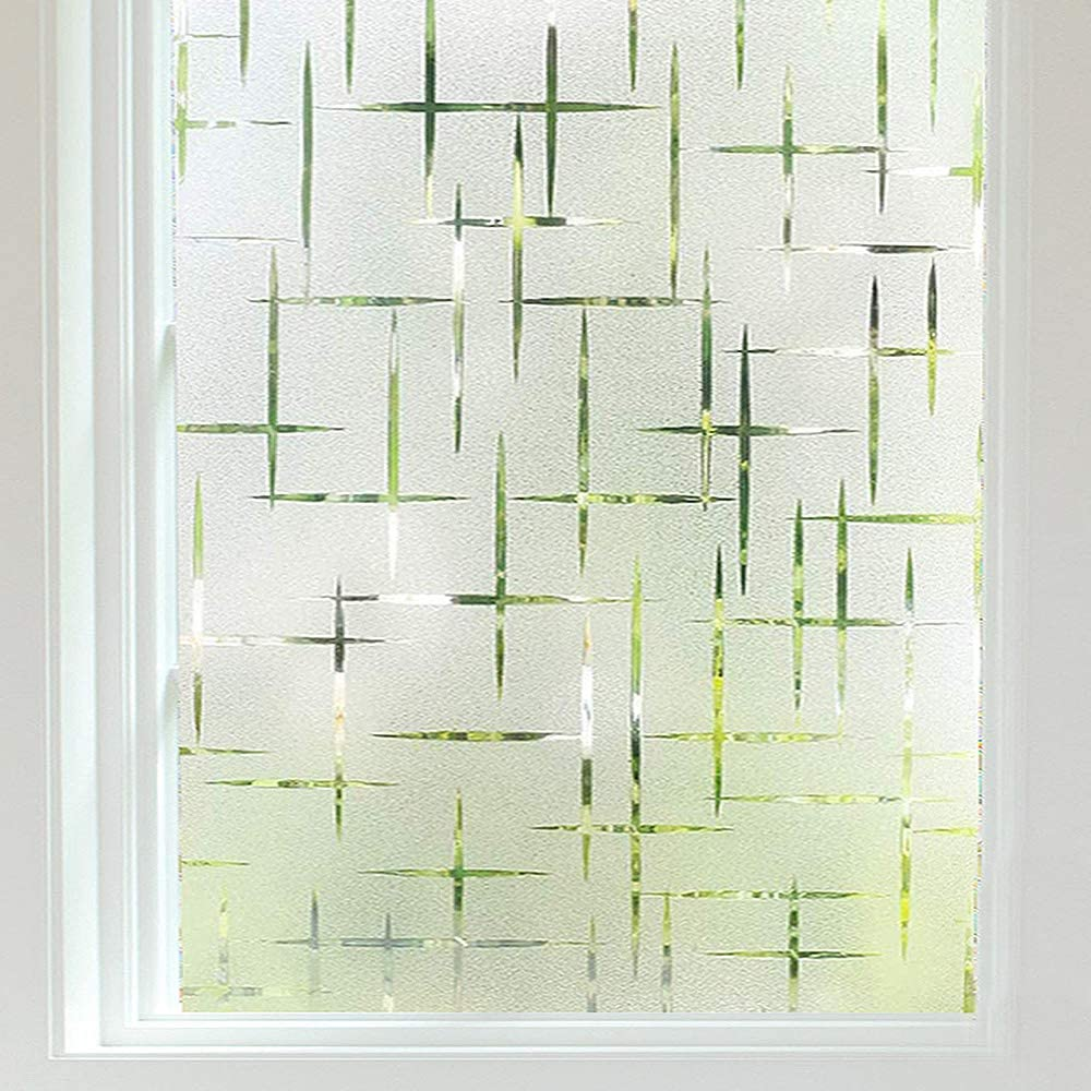 Finnez Frosted Window Film Non-Adhesive, Frosting Privacy Film for Glass Windows, Self Static-Cling Decorative Window Cling for Home Office UV Protection Cross Pattern, 23.6 x 78.7 inches