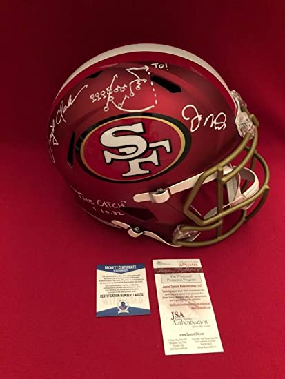 0acc64ed8 Amazon.com  Rare Joe Montana Dwight Clark 49Ers Autographed Signed F S  Blaze Helmet Beckett Jsa Coa  Sports Collectibles