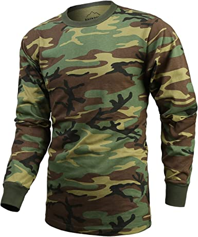 US T-Shirt Short Sleeve Camo Shirt Army Crew Camouflage Cotton Hunting Outdoor