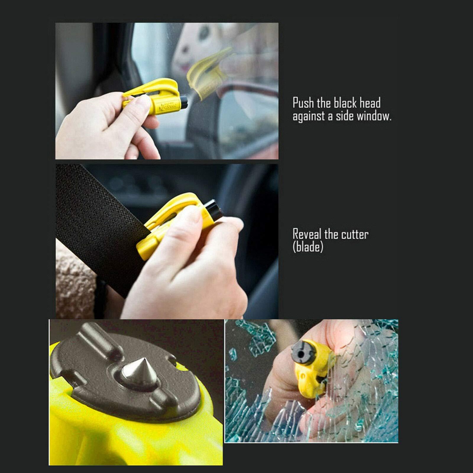Honeybeloved Tool Safety Seat Belt Cutter US Car Window Glass Breaker Emergency Escape Blue 7.5 x 3 x 1.5 cm 3 in 1