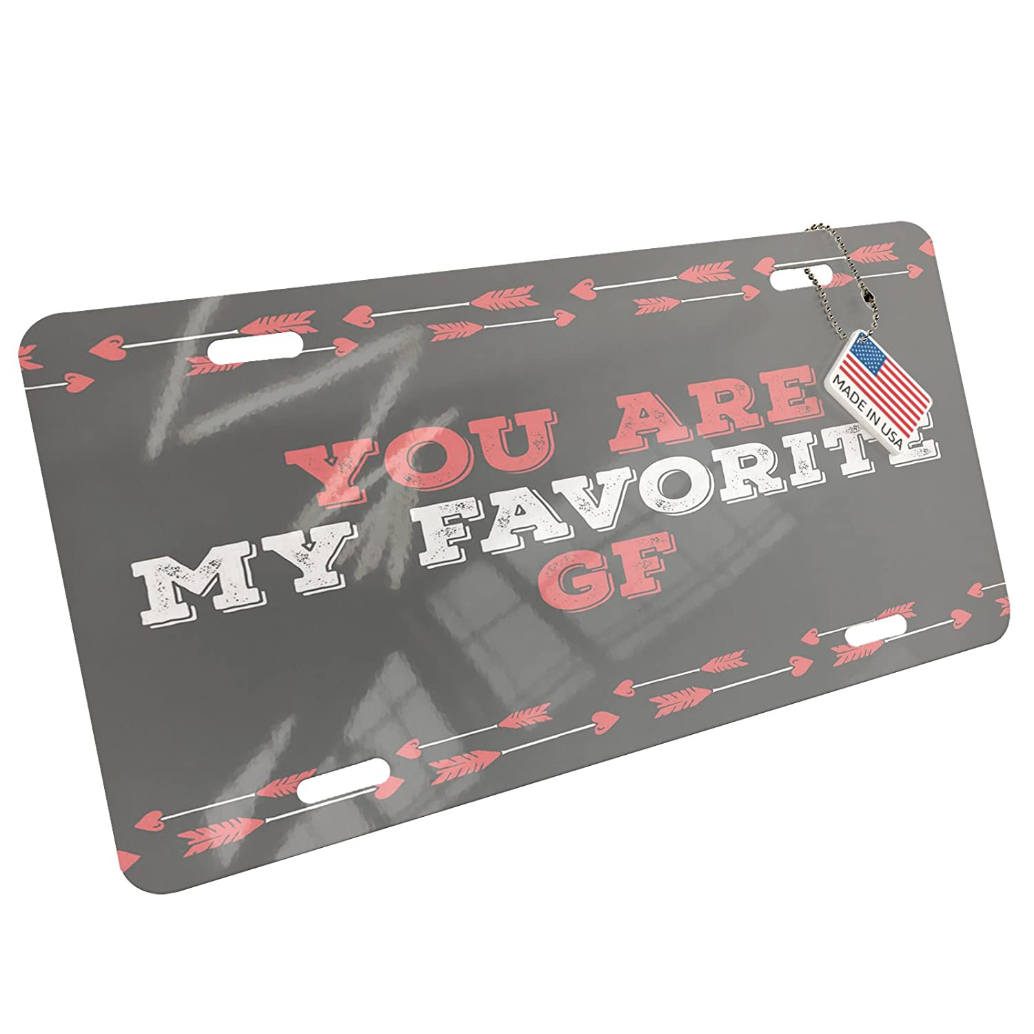 Amazon.com: NEONBLOND Metal License Plate You are My Favorite GF Valentines Day Cupids Arrows: Automotive