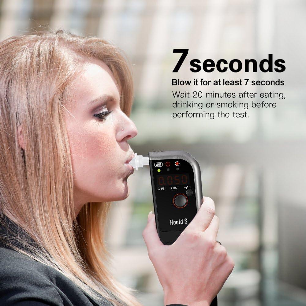 Bis zu 2 Monate Standby-Zeit Digitaler Alkoholmessger/ät angetrieben durch 750mAh Akku Professioneller Alkoholtester mit LED-Display Atemalkoholmessger/ät mit 4 Mundst/ücke TOPELEK Alkoholtester