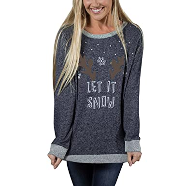 1473cc811d Women Christmas Shirt Plus Size Xmas Pullover Hoodies Long Sleeve Antler  Snow Print Tunic Crop Tops