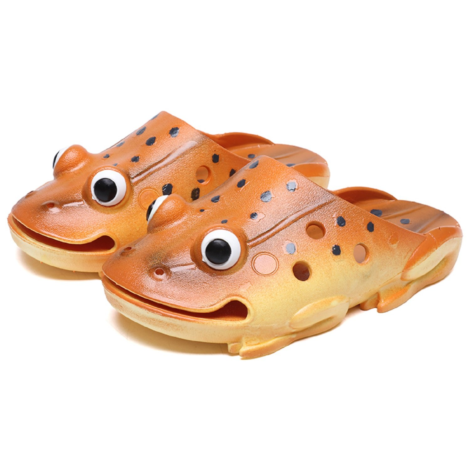 TQGOLD Kids Summer Animal Frog Slippers Outdoor Non-Slip Beach Sandals for Toddler/Boys/Girls Pool Swim Flip Flop Funny Gifts(Size 38,Orange)