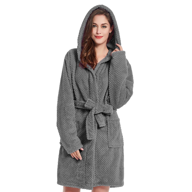 3XL Black Bathrobe XXXL Short Women Men Unisex Hooded Dressing Gown Microfibre Soft Snug Cosy Fleece