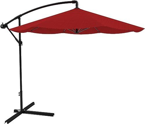 Pure Garden Patio Umbrella, Cantilever Hanging Outdoor Shade, Easy Crank and Base for Table, Deck, Balcony, Porch, Backyard, Pool 10 Foot Red