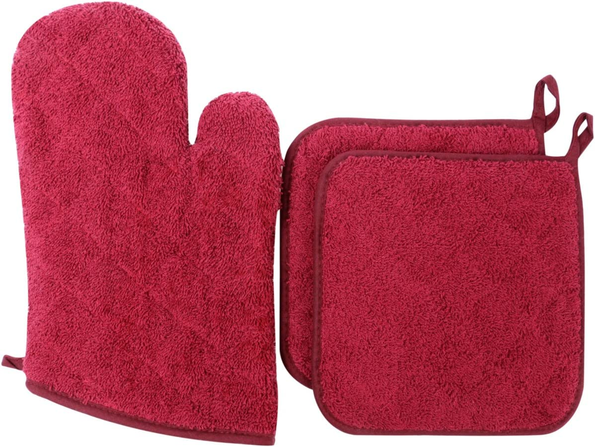 Lifaith 100% Cotton Everyday Kitchen Basic Heat Resistant Oven Mitt and Pot Holder Set, Wine
